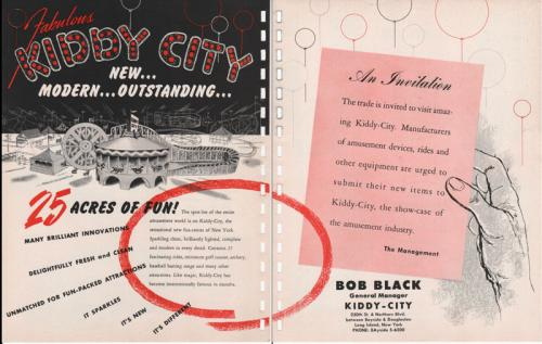 Kiddy City (Now a Golf Driving Range) 1955 - 2-page advertisement from an amusement park trade magazine.